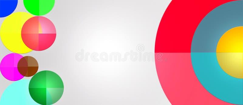 Cerchi geometrici multicolori in Grey Background illustrazione vettoriale