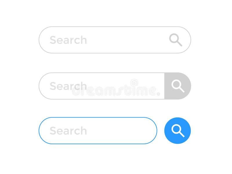 Cerchi il modello delle icone di vettore dell'elemento del browser di Internet della pagina Web della barra illustrazione vettoriale