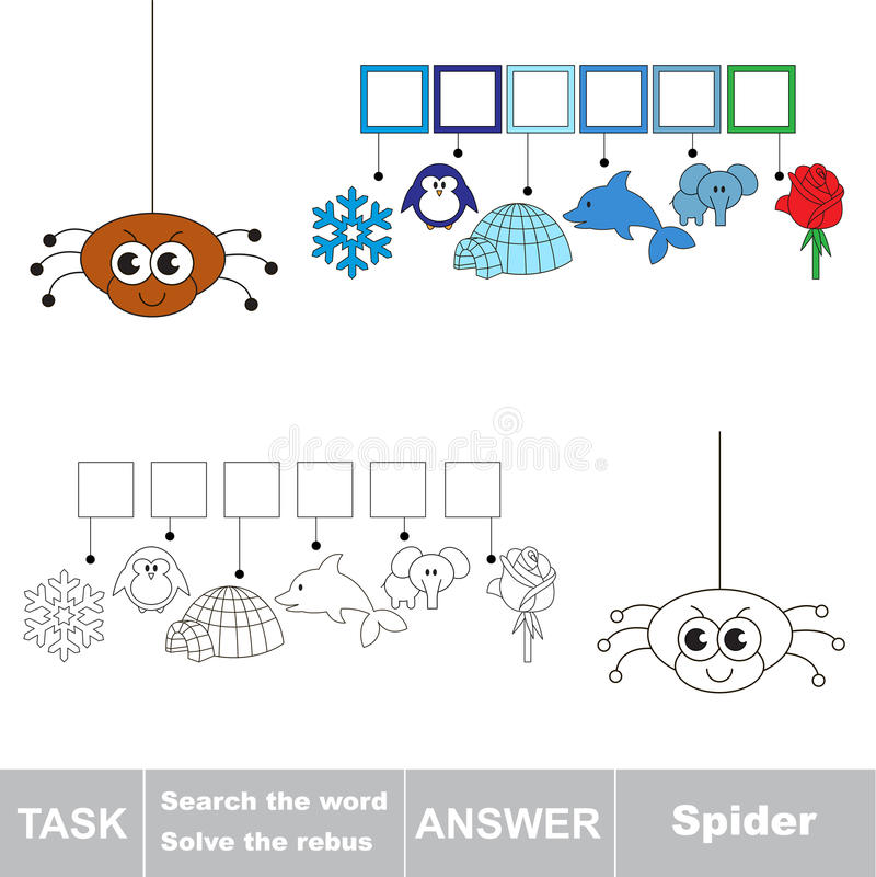 Cerchi il ragno di parola illustrazione vettoriale