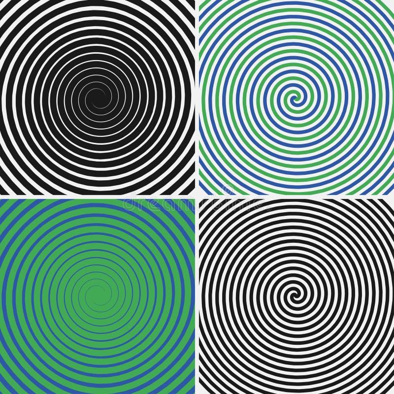 Cerchi ipnotici messi Raccolta degli ambiti di provenienza a spirale psichedelici Turbinii astratti di illusione ottica di ipnosi illustrazione vettoriale