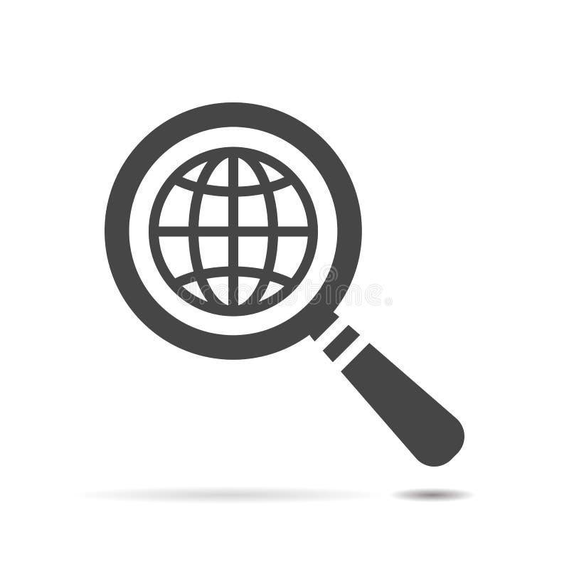 Cerchi l'icona del pianeta piano del globo, lente d'ingrandimento royalty illustrazione gratis