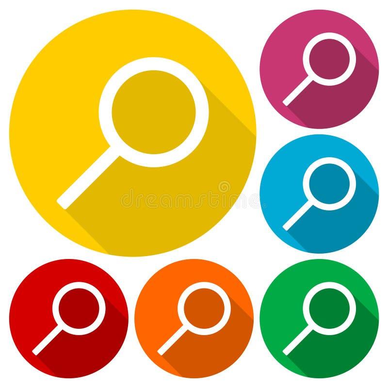 Cerchi l'icona, la lente d'ingrandimento, illustrazione di vettore con l'insieme lungo dell'ombra illustrazione di stock