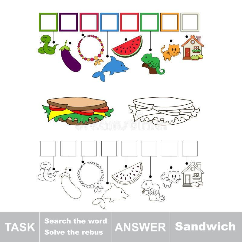 Cerchi la parola nascosta, il gioco educativo semplice del bambino royalty illustrazione gratis