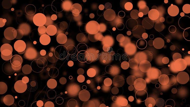 Cerchi, linee e luci della sfuocatura di tonalità differenti di colore arancio fotografie stock