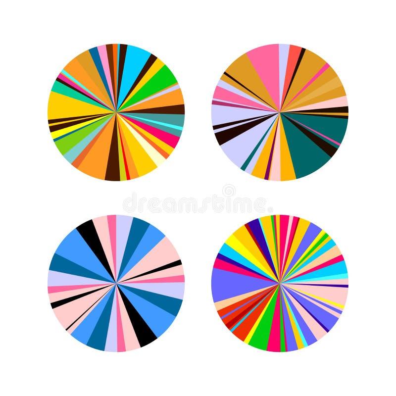 Cerchi luminosi delle bande colorate Tendenza relativa di modo all'arte Illustrazione rotonda di vettore Isolato su priorità bass illustrazione vettoriale