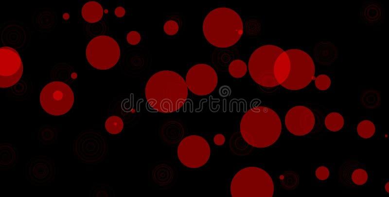 Cerchi rossi su fondo nero Illustrazione astratta del fondo del bokeh Belle luci astratte rosse royalty illustrazione gratis