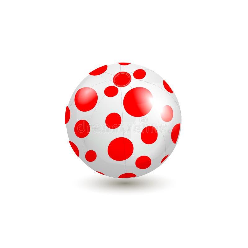 Cerchi rossi sull'illustrazione bianca di vettore del beach ball illustrazione vettoriale