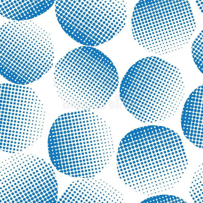 Cerchi strutturati blu del fondo senza cuciture di vettore Punti blu su fondo bianco Geometrico astratto Cerchi punteggiati illustrazione di stock