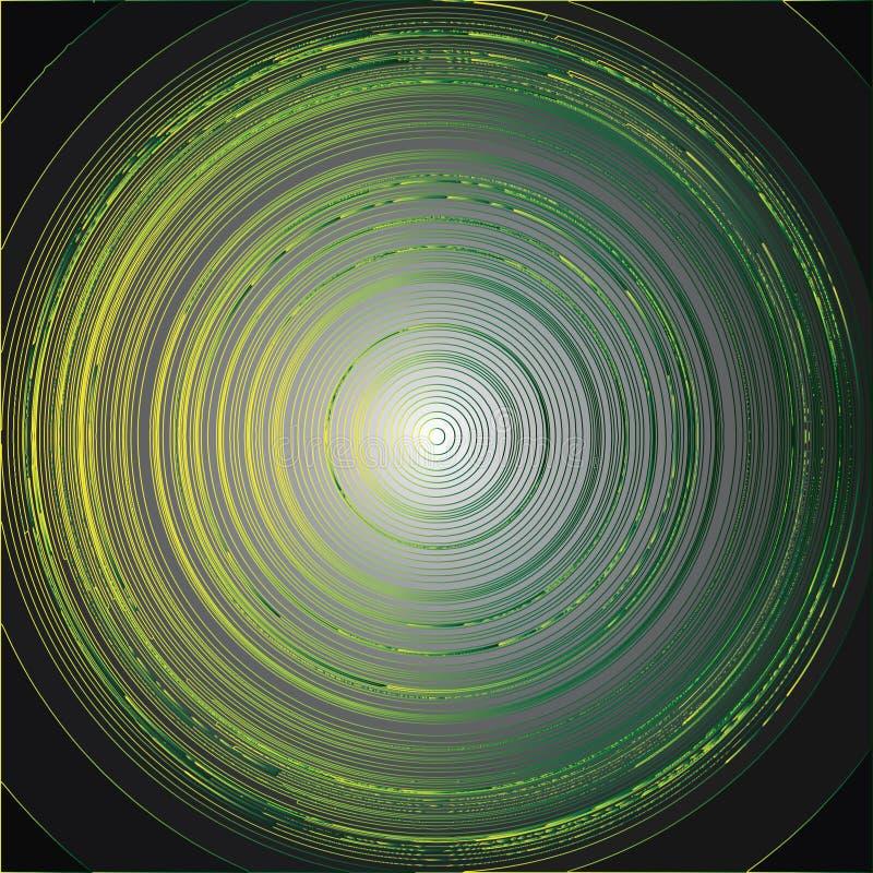 Cerchi taglienti verdi e gialli illustrazione di stock