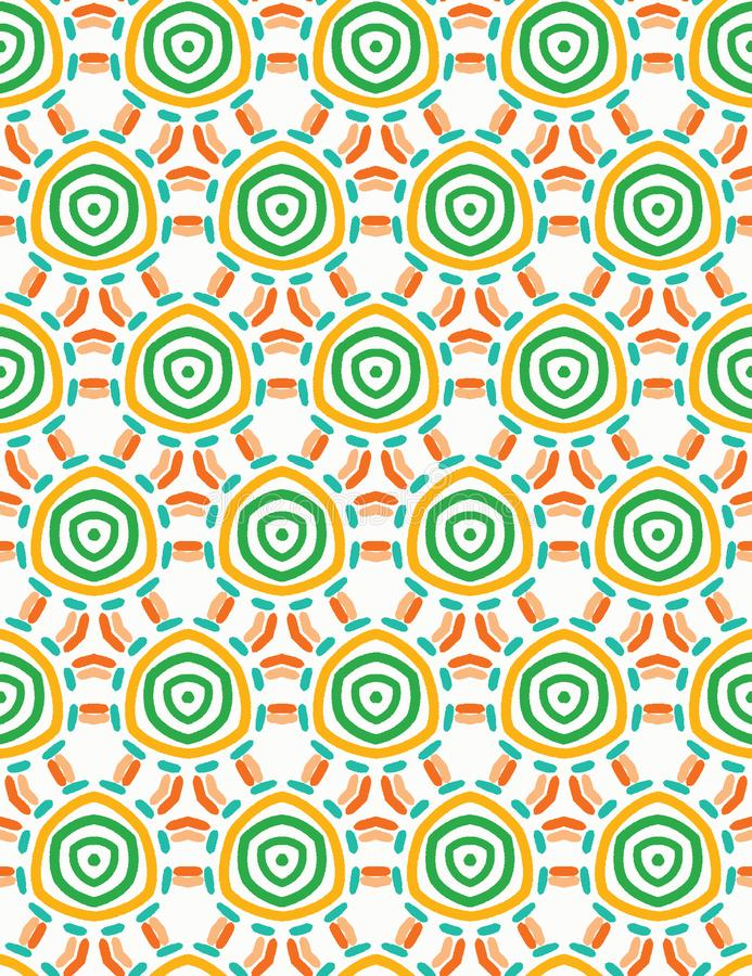 Cerchi tocchi del taglio organico astratto Fondo senza cuciture del modello di vettore Stile strutturato disegnato a mano Spirale illustrazione vettoriale