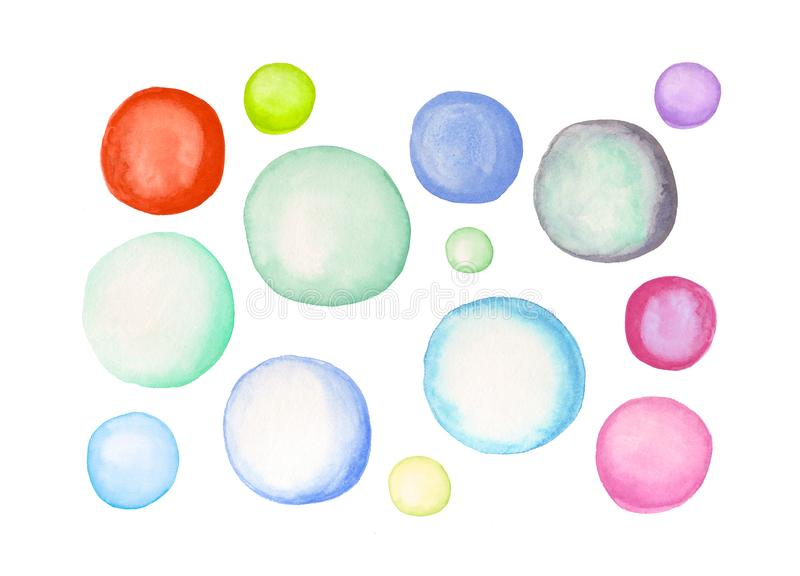 Cerchi variopinti dell'acquerello Elementi dipinti a mano per progettazione illustrazione vettoriale
