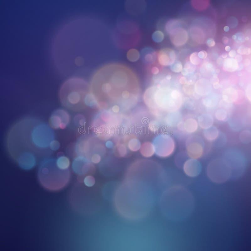 Cerchi vivi astratti variopinti del bokeh della sfuocatura nel fondo molle di stile di colore Modello rosa blu porpora di festa d illustrazione di stock