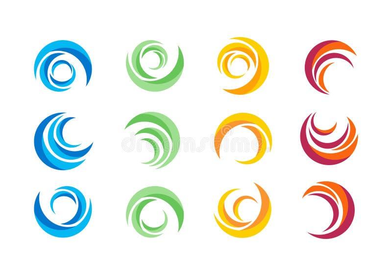 Cerchio, acqua, logo, vento, sfera, pianta, foglie, ali, fiamma, sole, estratto, infinito, insieme di progettazione rotonda di ve illustrazione vettoriale