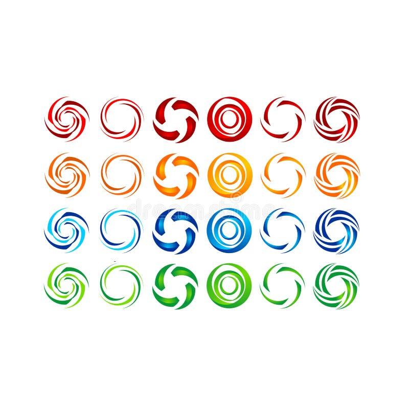 Cerchio, acqua, logo, vento, sfera, pianta, foglie, ali, fiamma, sole, estratto, infinito, insieme di progettazione rotonda di ve royalty illustrazione gratis