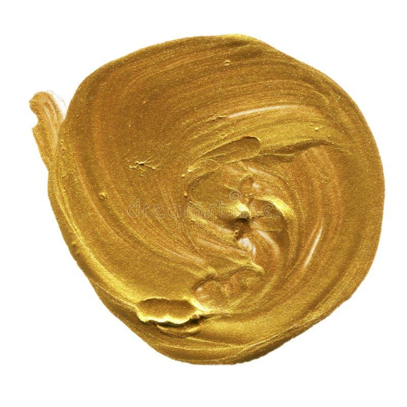 Cerchio acrilico isolato su fondo bianco Ingiallisca, forma rotonda dell'acquerello dell'oro per testo Elemento per progettazione illustrazione vettoriale