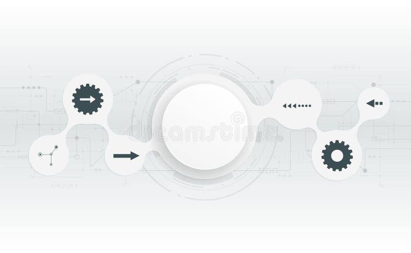 Cerchio astratto del Libro Bianco 3D sul circuito illustrazione di stock