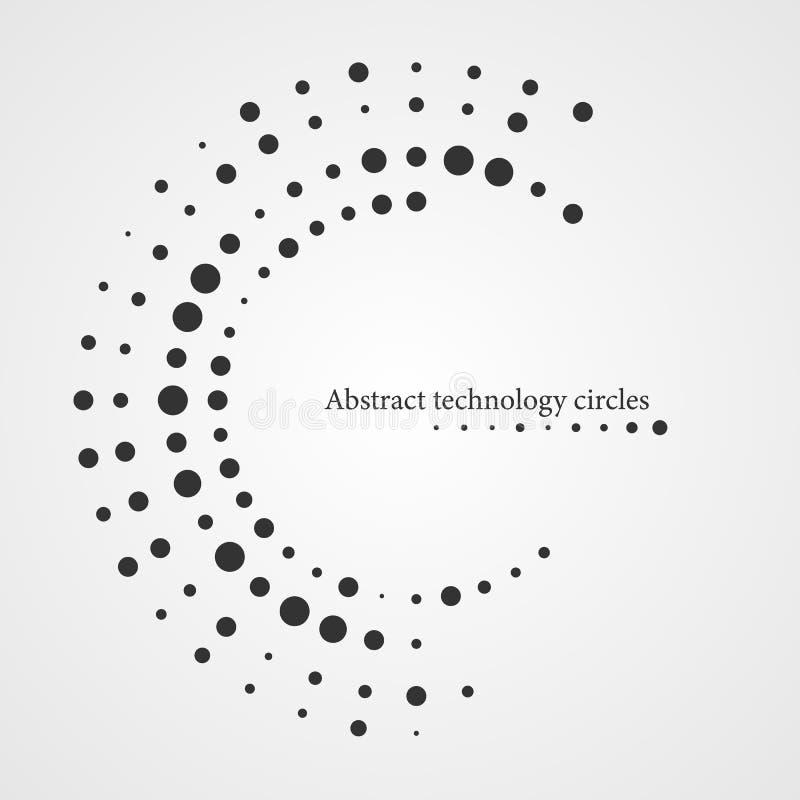 Cerchio astratto di tecnologia, cerchi neri su un fondo bianco immagine stock libera da diritti