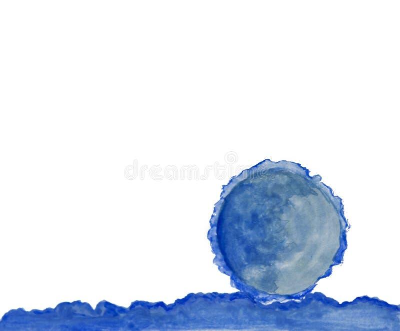 Cerchio astratto e orizzontale blu dell'acquerello dipinti Immagine di concetto o del fondo immagine stock libera da diritti