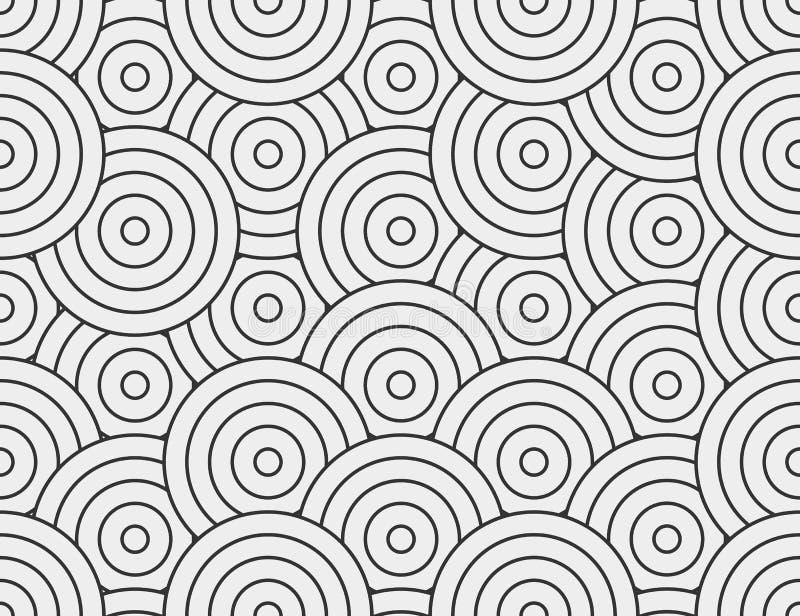 Cerchio astratto, linea modello senza cuciture Fondo monocromatico neutrale di affari, colore grigio nero Forme rotonde lineari illustrazione vettoriale