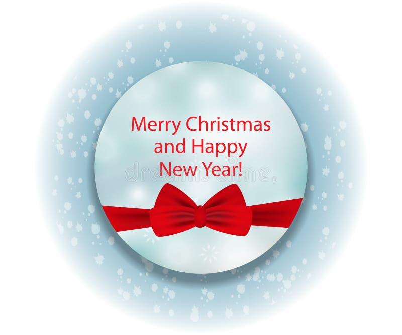Cerchio blu decorativo elegante con l'arco rosso per il Natale ed il Ne illustrazione di stock