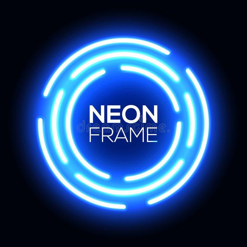 Cerchio blu della luce al neon Struttura techna rotonda brillante illustrazione di stock