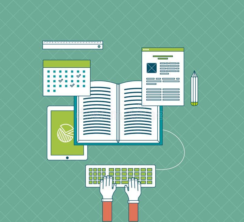 Cerchio completo dell'e-learning con le icone dell'insieme circa illustrazione di stock