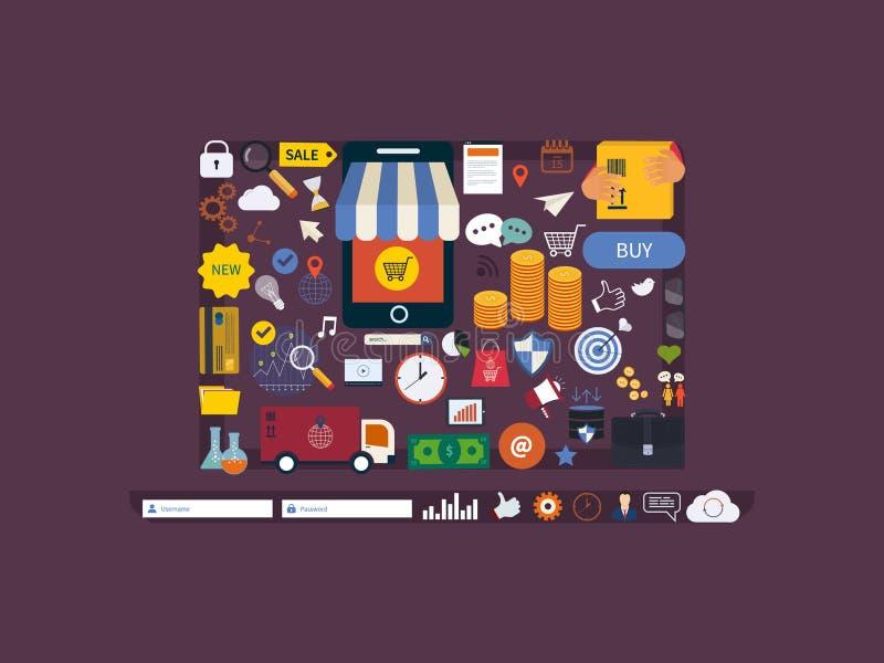 Cerchio completo di ricerca di mercato, pubblicità illustrazione di stock