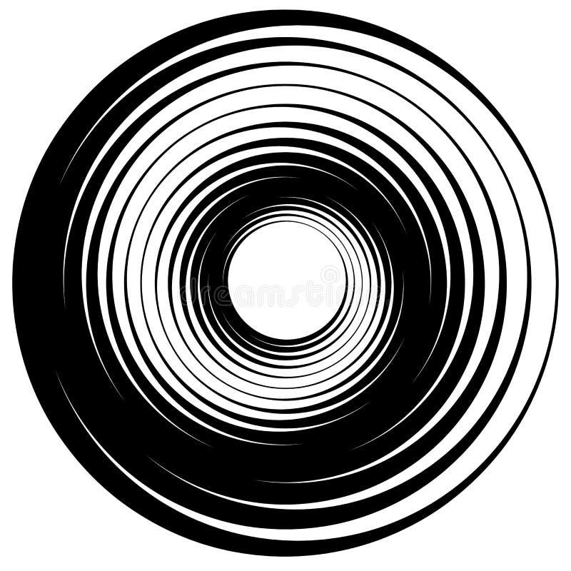 Cerchio concentrico, anelli Adatto come elemento astratto di progettazione illustrazione di stock