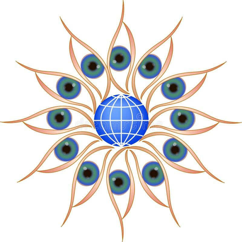 Cerchio degli occhi rotondo con il globo immagine stock libera da diritti