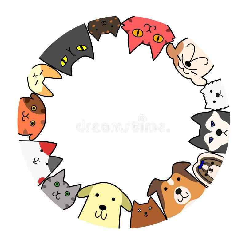 Cerchio dei gatti e dei cani con lo spazio della copia illustrazione vettoriale