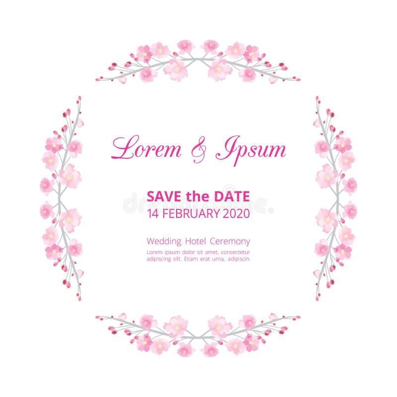 Cerchio del modello della partecipazione di nozze del fiore di sakura di rosa della piena fioritura, struttura d'annata floreale  royalty illustrazione gratis