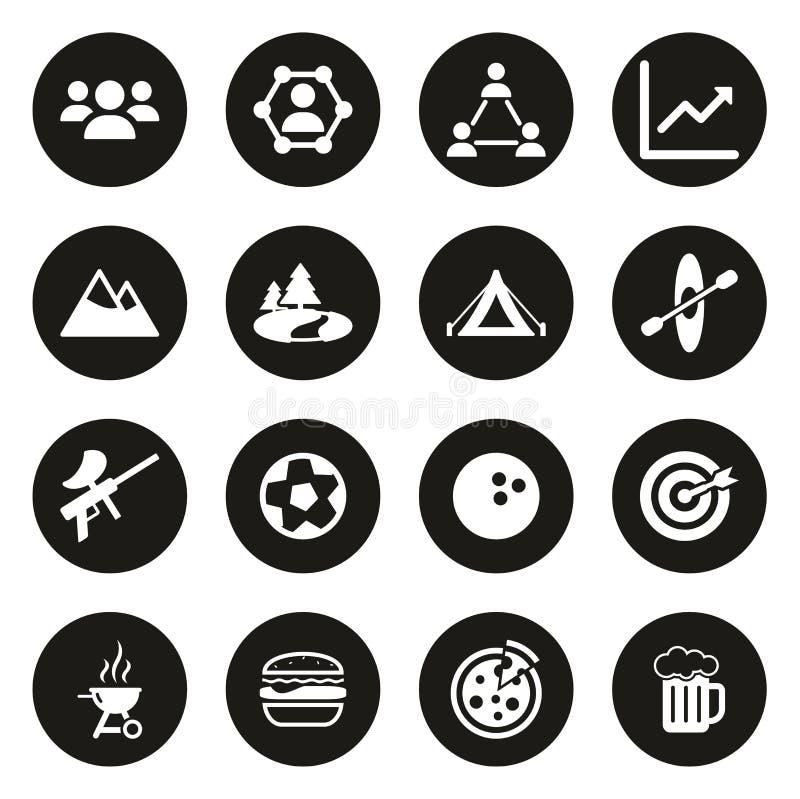 Cerchio del nero di Team Building Icons White On illustrazione vettoriale
