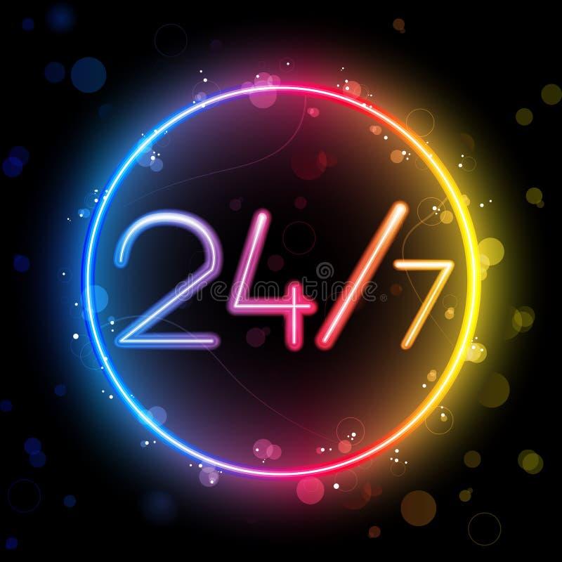 Cerchio del Rainbow del neon 24/7 illustrazione vettoriale