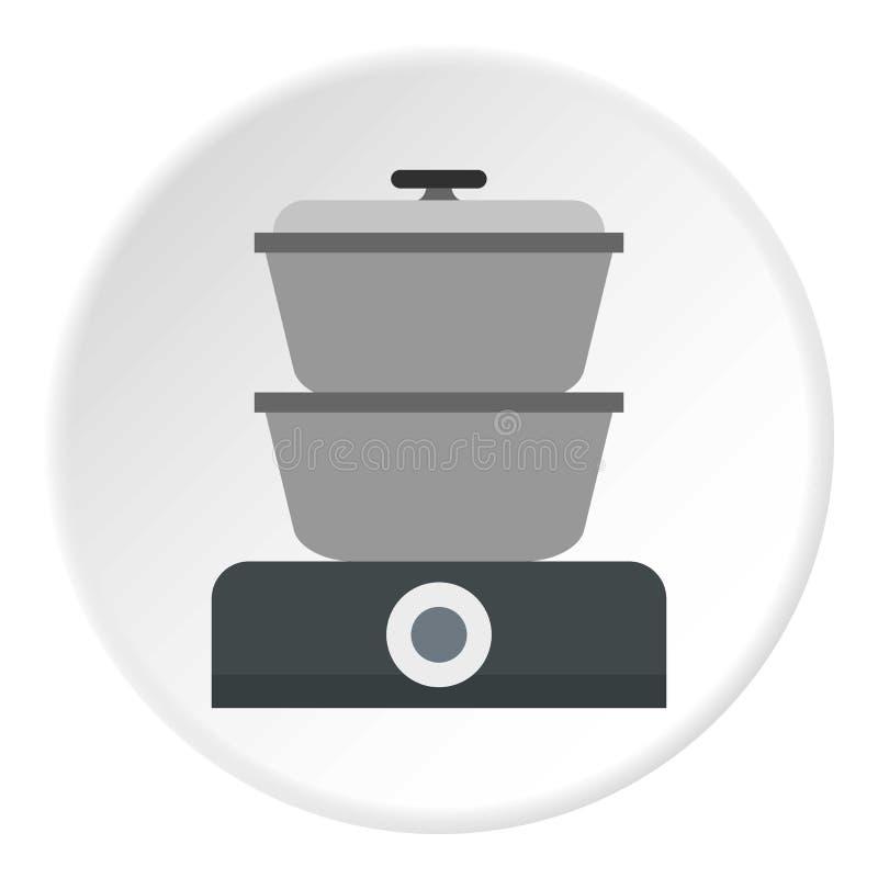 Cerchio dell'icona del fornello del vapore illustrazione di stock