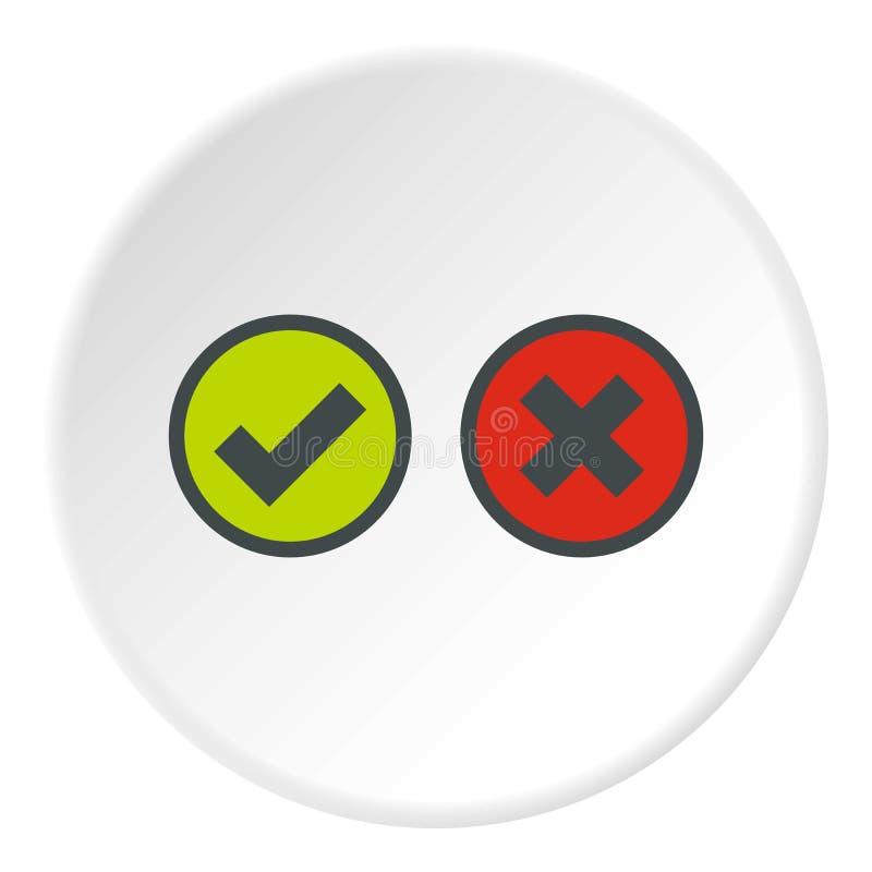 Cerchio dell'icona di selezione dell'incrocio e del segno di spunta royalty illustrazione gratis