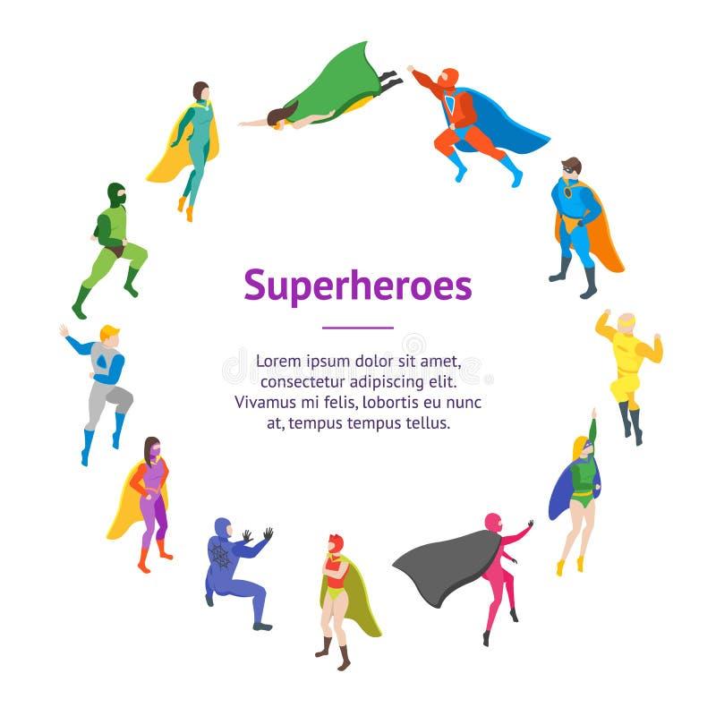 Cerchio della carta dell'insegna del Super Heroes della gente dei personaggi dei cartoni animati Vettore royalty illustrazione gratis