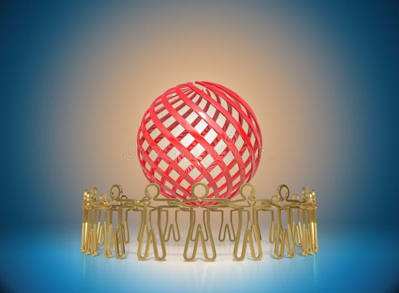 Cerchio della gente dorata che sta intorno al globo, toget unentesi illustrazione di stock