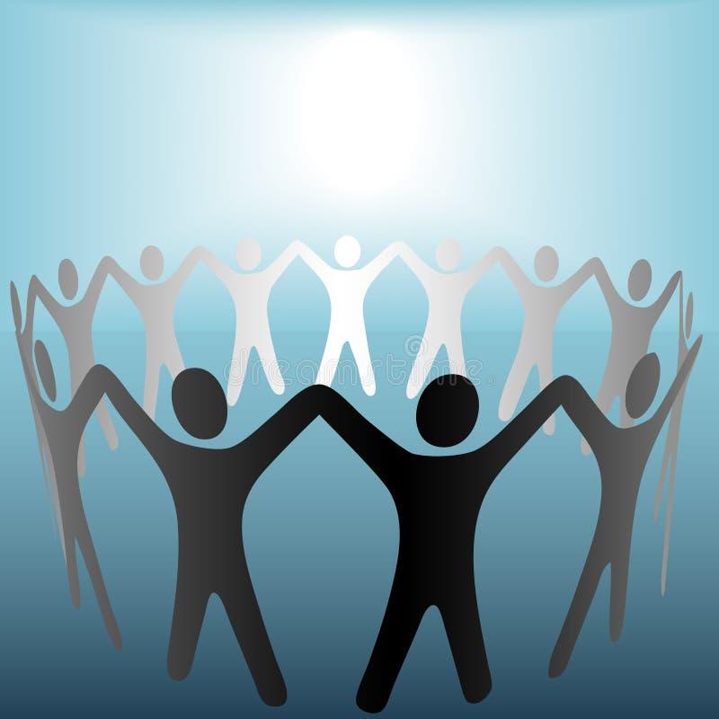 Cerchio della gente nell'ambito della priorità bassa luminosa dell'azzurro del punto illustrazione di stock