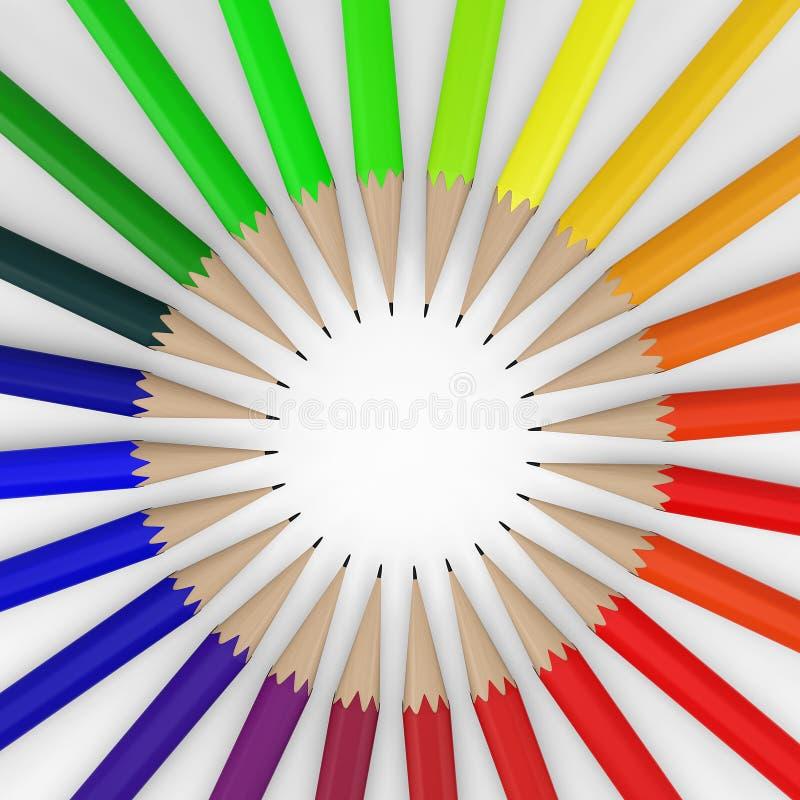 Cerchio delle matite colorate 3d rendono illustrazione di stock