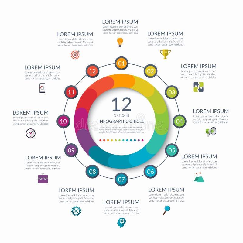 Cerchio di Infographic 12 opzioni, punti, parti Concetto di affari per il diagramma, grafico, grafico Modello di vettore illustrazione di stock