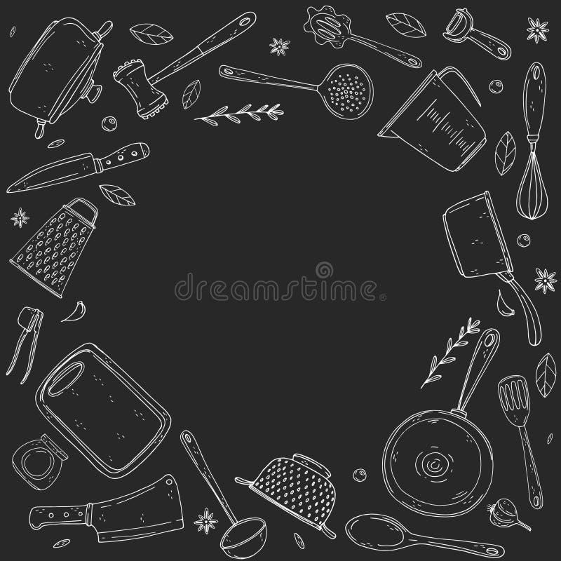 Cerchio di inversione fatto degli elementi con articolo da cucina disegnato a mano su un fondo della lavagna illustrazione vettoriale