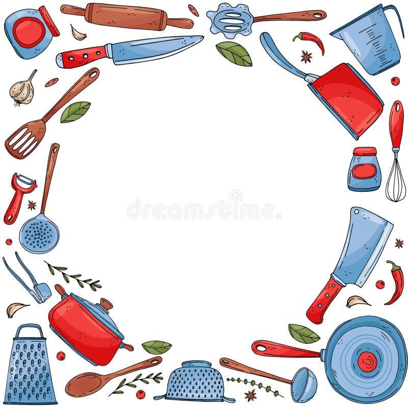 Cerchio di inversione fatto degli elementi con gli strumenti disegnati a mano della cucina isolare su un fondo bianco illustrazione di stock