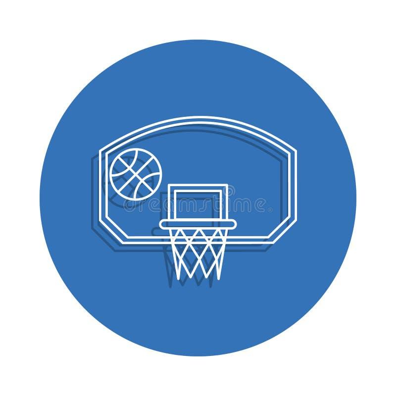 cerchio di pallacanestro con l'icona del distintivo della palla Elemento di istruzione per il concetto e l'icona mobili dei apps  illustrazione di stock
