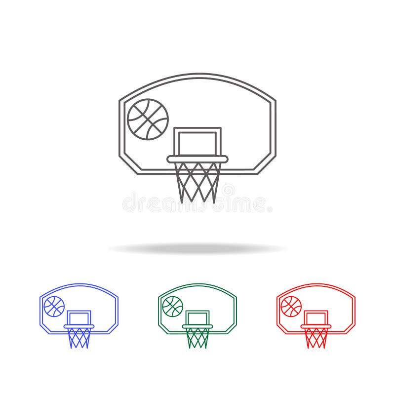 cerchio di pallacanestro con l'icona della palla Elementi di multi icone colorate di istruzione Icona premio di progettazione gra royalty illustrazione gratis