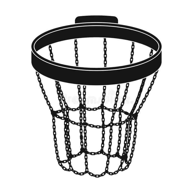 Cerchio di pallacanestro Singola icona di pallacanestro nel web nero dell'illustrazione delle azione di simbolo di vettore di sti illustrazione vettoriale