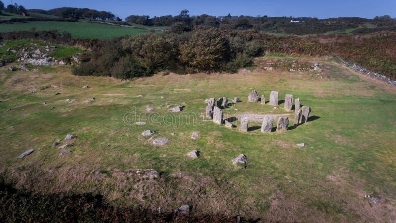 Cerchio di pietra di Drombeg di vista aerea Sughero della contea l'irlanda immagini stock libere da diritti