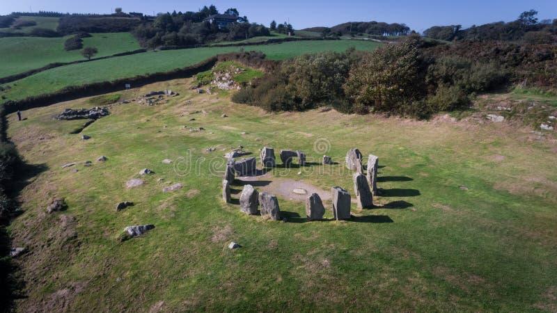 Cerchio di pietra di Drombeg di vista aerea Sughero della contea l'irlanda fotografia stock libera da diritti