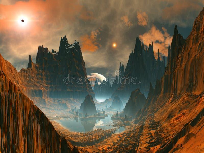 Cerchio di pietra straniero in valle della montagna illustrazione vettoriale