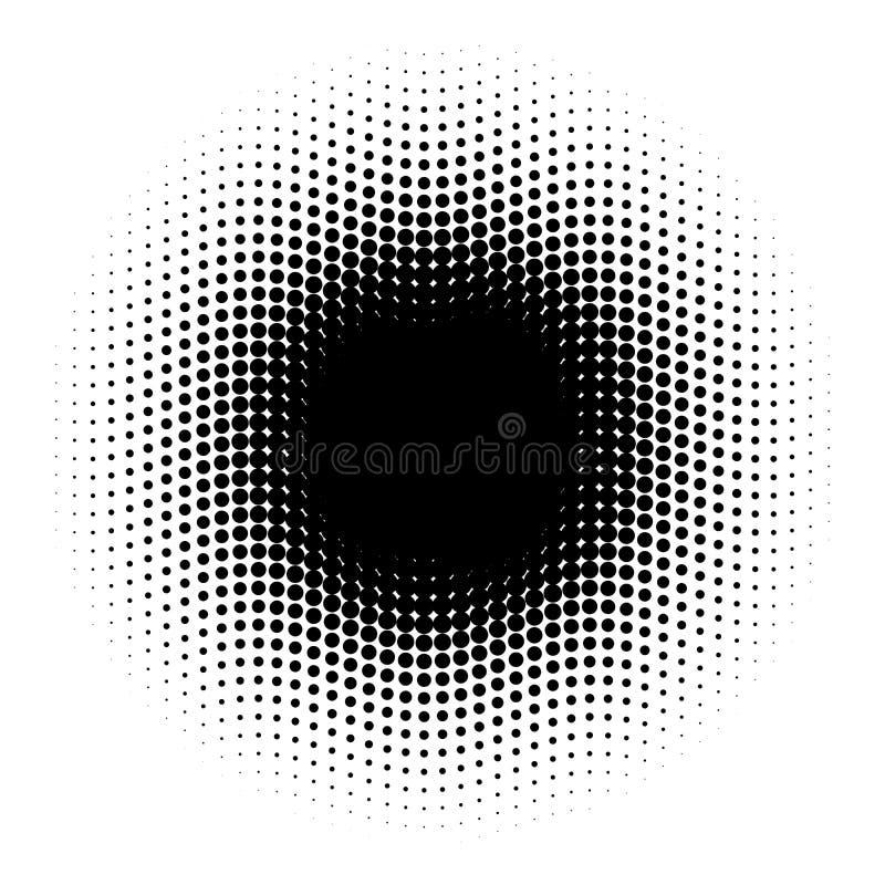 Cerchio di semitono astratto dei punti nella disposizione ondulata Elemento in bianco e nero dell'illustrazione di vettore illustrazione di stock