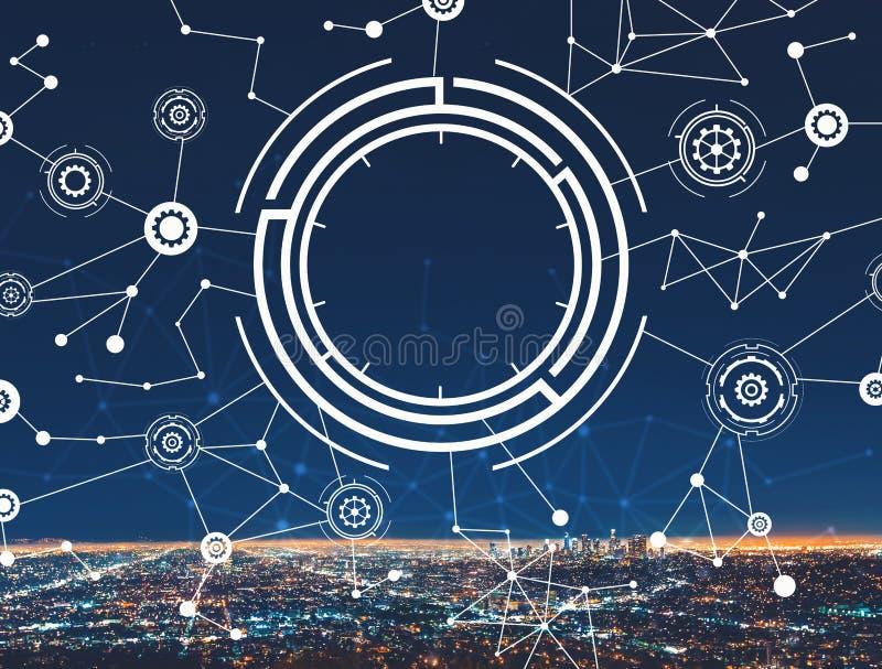 Cerchio di tecnologia con LA del centro immagine stock